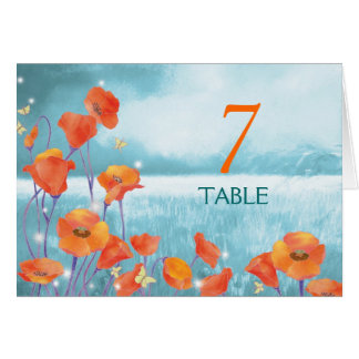 Red Poppy Wedding Table Numbers