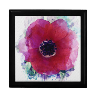 Red Poppy Wooden  Jewellery Gift Box L #1