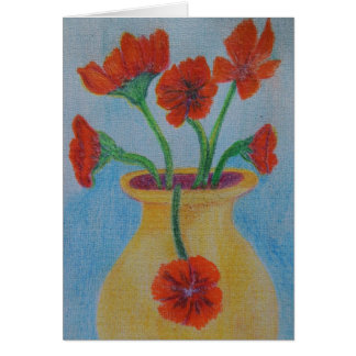 Red Poppy Yellow vase Note Card