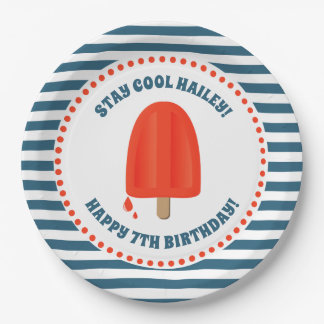 Red Popsicle Birthday Paper Plate