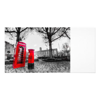 Red Post Box Phone box London Picture Card