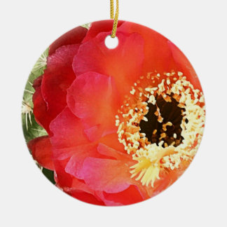 Red Prickly Pear Blossom Round Ceramic Decoration