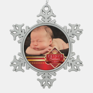 Red Prince Baby Boy Photo Christmas Pewter Snowflake Decoration