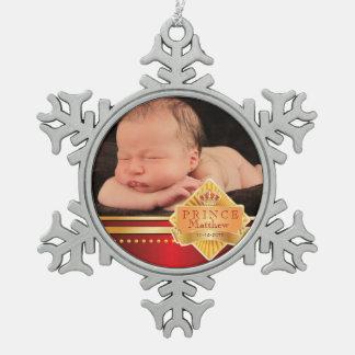 Red Prince Baby Boy Photo Christmas Snowflake Pewter Christmas Ornament