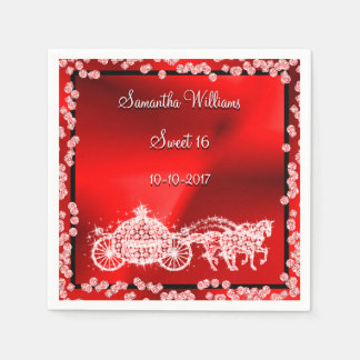 Red Princess Coach & Horses Sweet 16 Disposable Napkin