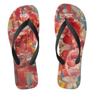 """red printed flip flops. """"Red"""" Thongs"""
