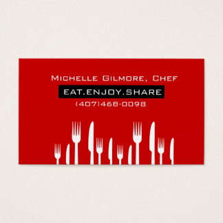 Red Private Chef Catering Business Card