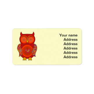 Red Psychedelic Owl Address Label