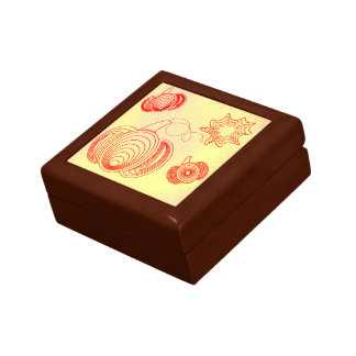 Red pumpkins with rustic retro halftones small square gift box