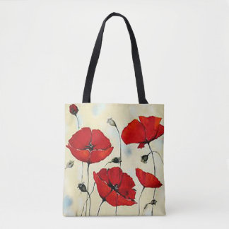Red Puppy Flower Painting All-Over-Print Tote Bag