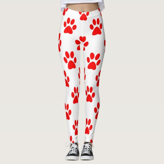 Red puppy paws pattern leggings