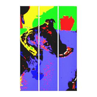 """red puppy """"pop art puppy"""" canvas print"""