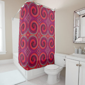 Red Purple Abstract Swirl Pattern Shower Curtain