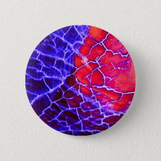 Red & Purple Cracked Quartz Crystal 6 Cm Round Badge