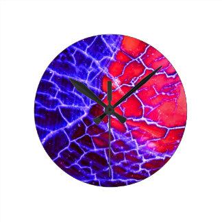 Red & Purple Cracked Quartz Crystal Round Clock