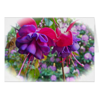 Red Purple Fushia Blossoms Card