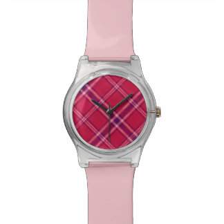 Red/Purple/Pink Tartan Plaid Light Watch