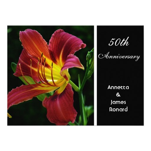red purple tiger lily flower wedding anniversary personalized invite