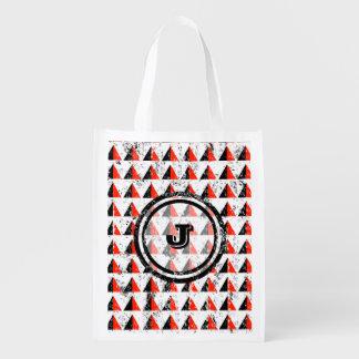 Red Pyramid Geometric Monogram