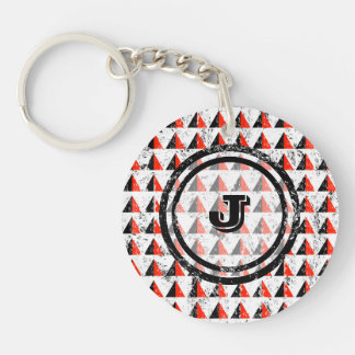 Red Pyramid Geometric Monogram Key Ring