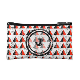 Red Pyramid Geometric Monogram Makeup Bags