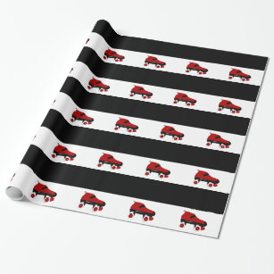 red quad roller derby skate wrapping paper