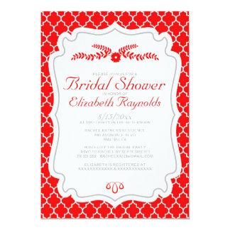 Red Quatrefoil Bridal Shower Invitations