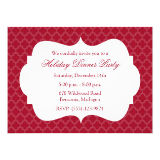 Red Quatrefoil Holiday Party Invitation