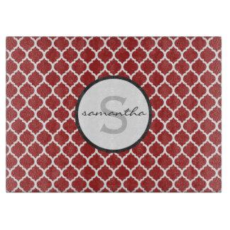 Red Quatrefoil Monogram Cutting Board