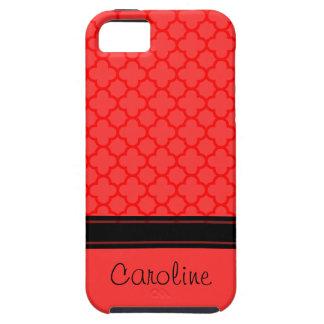 red quatrefoil pattern iPhone 5 case