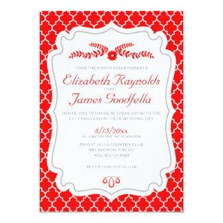 Red Quatrefoil Wedding Invitations