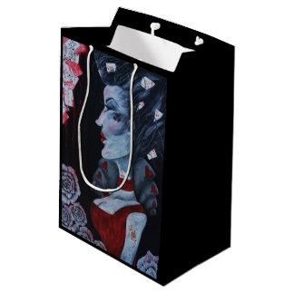 Red Queen Hearts Alice Wonderland Roses Goth Art Medium Gift Bag