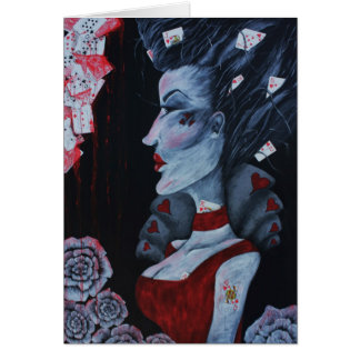 Red Queen Of Hearts Alice Wonderland Fantasy Art Greeting Card
