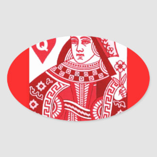 Red Queen of Hearts Oval Sticker