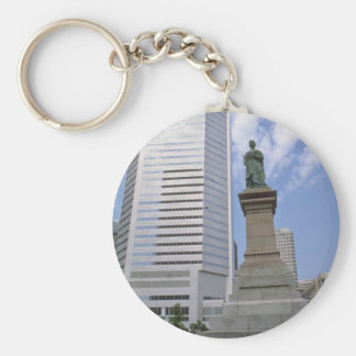 Red Queen Victoria statue, Montreal, Quebec flower Basic Round Button Key Ring