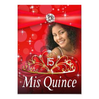 Red Quinceanera 15 Princess Tiara  Photo Custom Invites