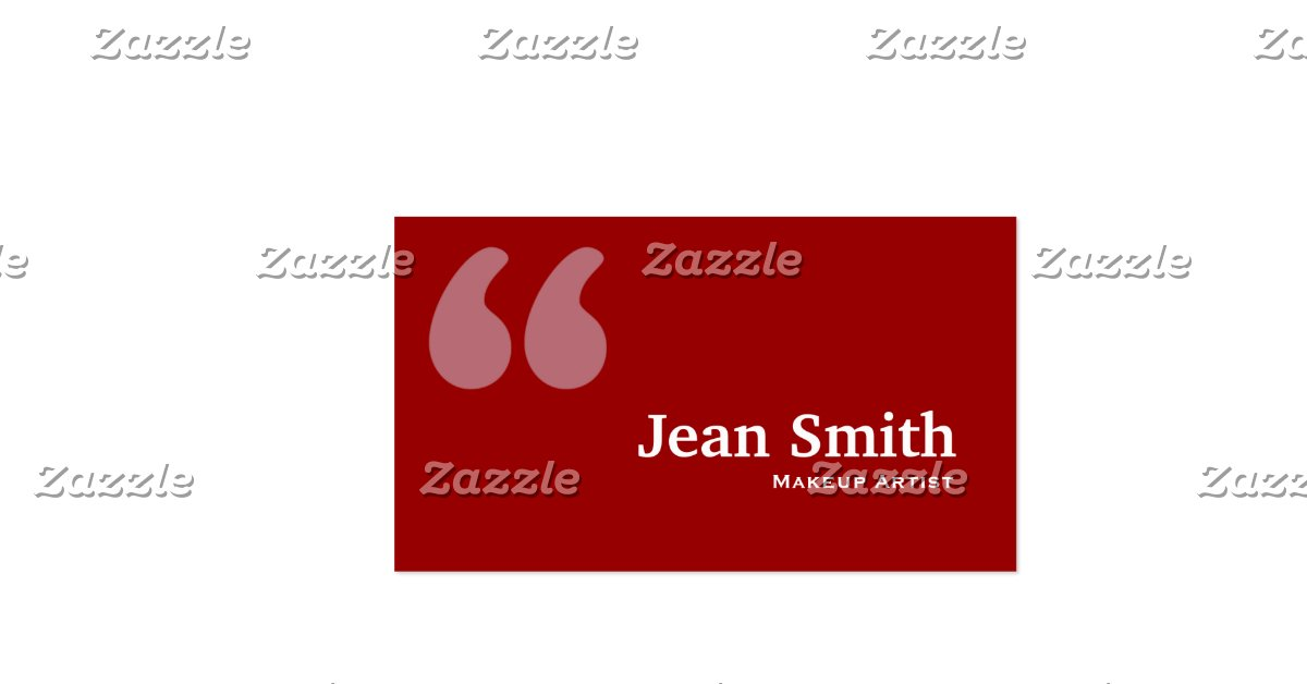 Red quotes makeup artist business card zazzle for Makeup artist quotes for business cards