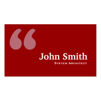 Red Quotes System Architect Business Card