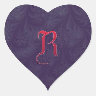 Red 'R' on purple embossed effect 3D fractal. Heart Sticker
