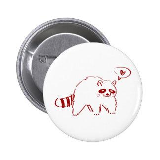 Red Raccoon in Love Pin