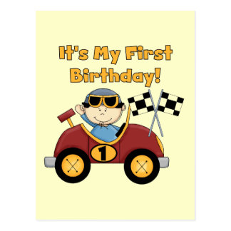 Red Race Car 1st Birthday Tshirts and Gifts Postcard
