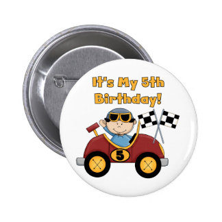 Red Race Car 5th Birthday Tshirts and Gifts 6 Cm Round Badge