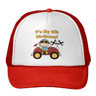 Red Race Car 6th Birthday  T-shirts and gifts Cap