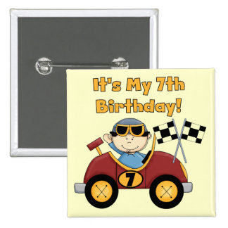 Red Race Car 7th Birthday Tshirts and Gifts Pinback Buttons