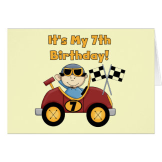 Red Race Car 7th Birthday Tshirts and Gifts Greeting Card