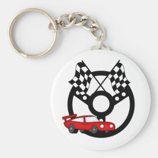 Red Race Car and Flags Basic Round Button Key Ring