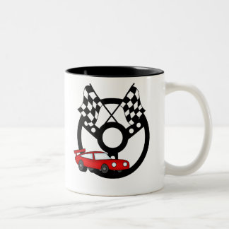 Red Race Car and Flags Two-Tone Coffee Mug