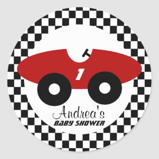 Red Race Car Baby Shower Classic Round Sticker