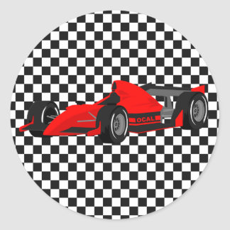 Red Race Car Birthday Sticker