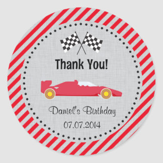Red Race Car Birthday Thank You Stickers